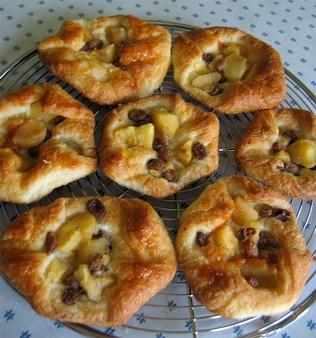 Feuilletés aux pommes et aux raisins, sans oeufs