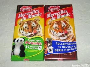Tablettes de chocolat Merveille du Monde de Nestlé