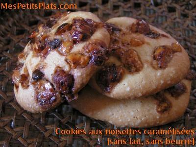 Cookies aux noisettes caramélisées sans oeufs