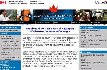 Alerte allergies - Canada