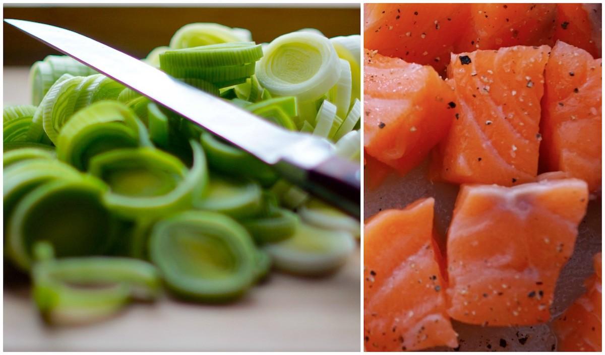 Poireaux et saumon