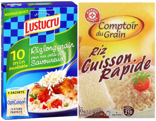 Riz incollable et riz cuisson rapide