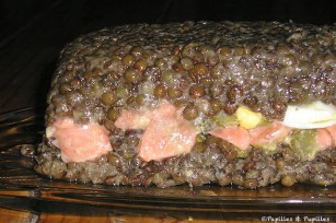 Terrine de lentilles au tartare de saumon