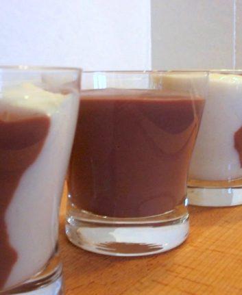 Crème chocolat vanille sans oeufs sans gluten