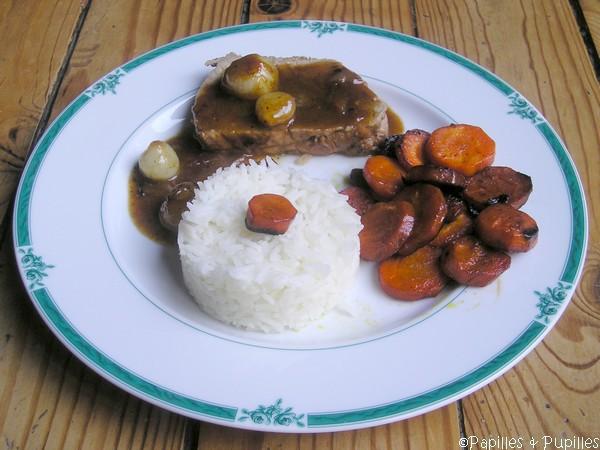 Röti de veau aux carottes braisées et jus d'orange