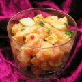 Tartare aux deux saumons, pistaches et baies roses