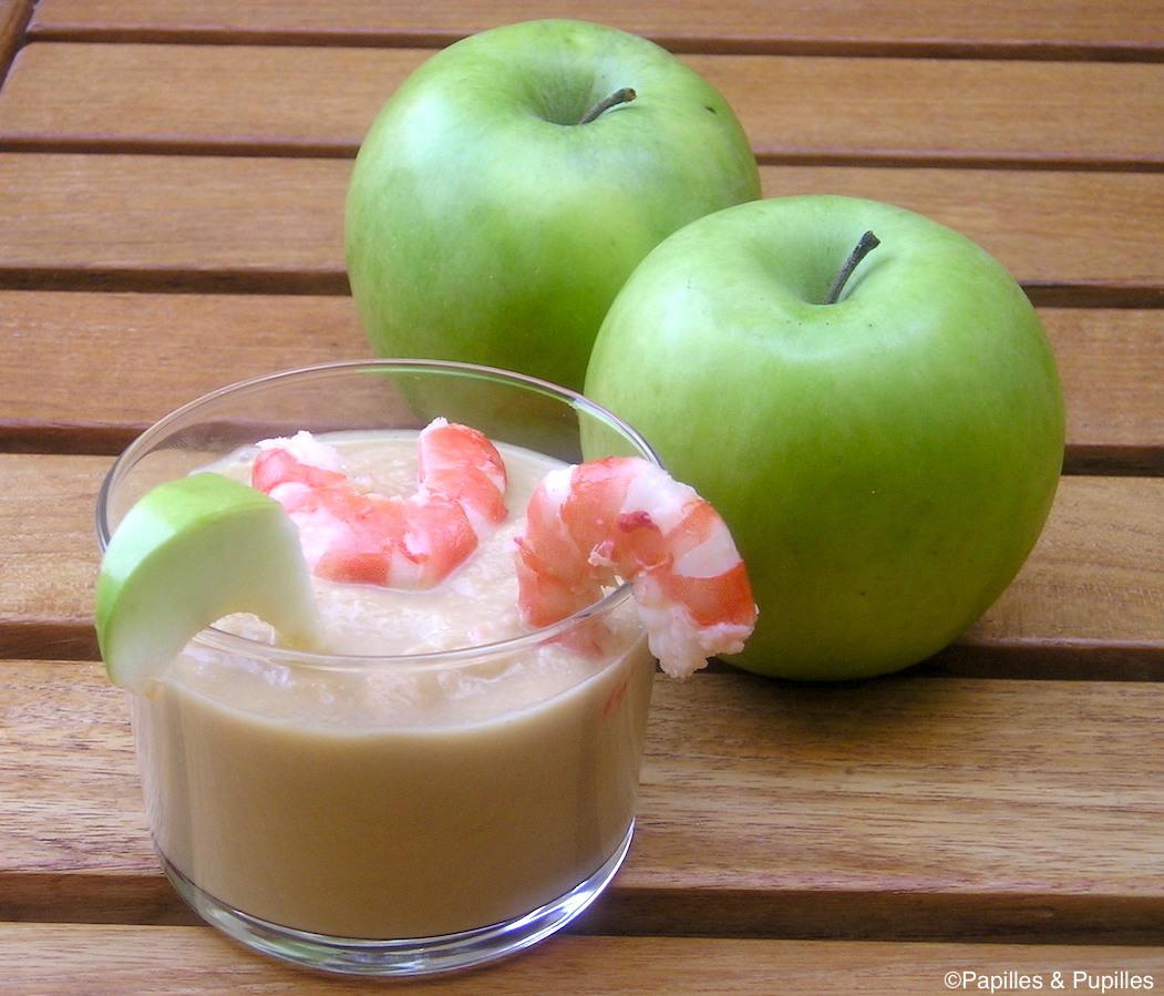 Gaspacho de pommes vertes aux crevettes