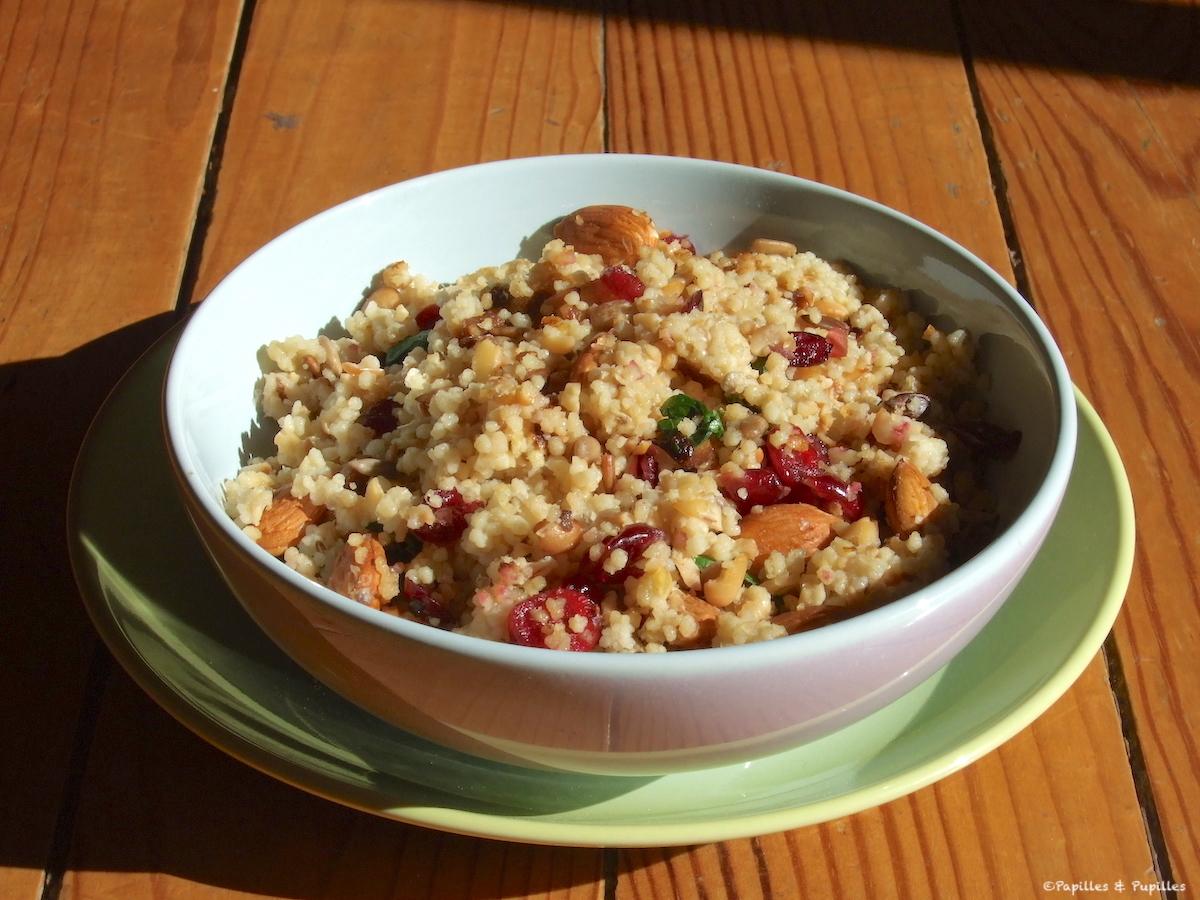 Boulghour aux cranberries, amandes et graines de tournesol