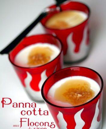 Panacotta (Pana cotta) aux flocons de sirop d'érable sans oeufs sans gluten