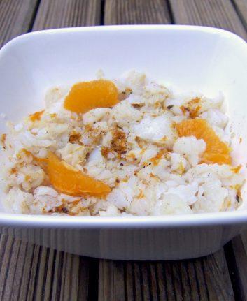 Salade de flétan aux agrumes et à l'huile d'olive vanillée