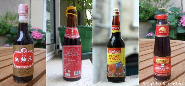 Sauce soja claire - Huile de sesame noir - kecap Manis - Sauce Huitres
