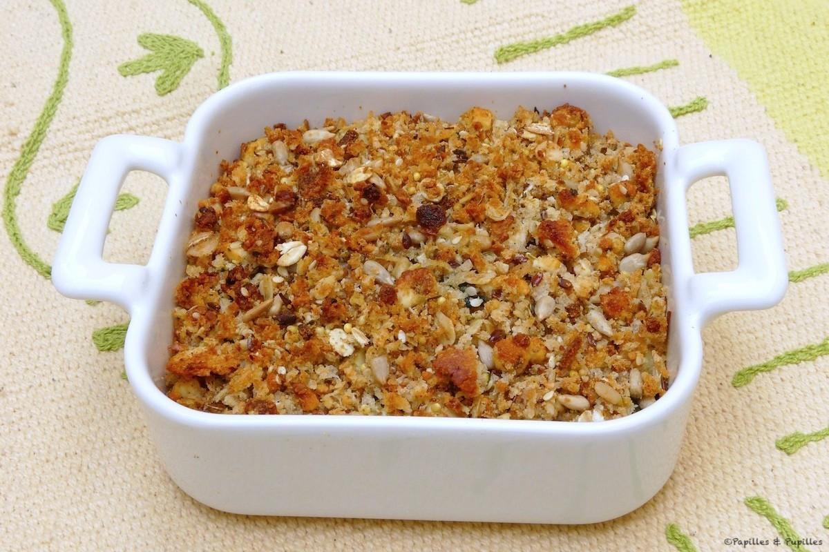 Crumble de courgettes à la féta et aux céréales