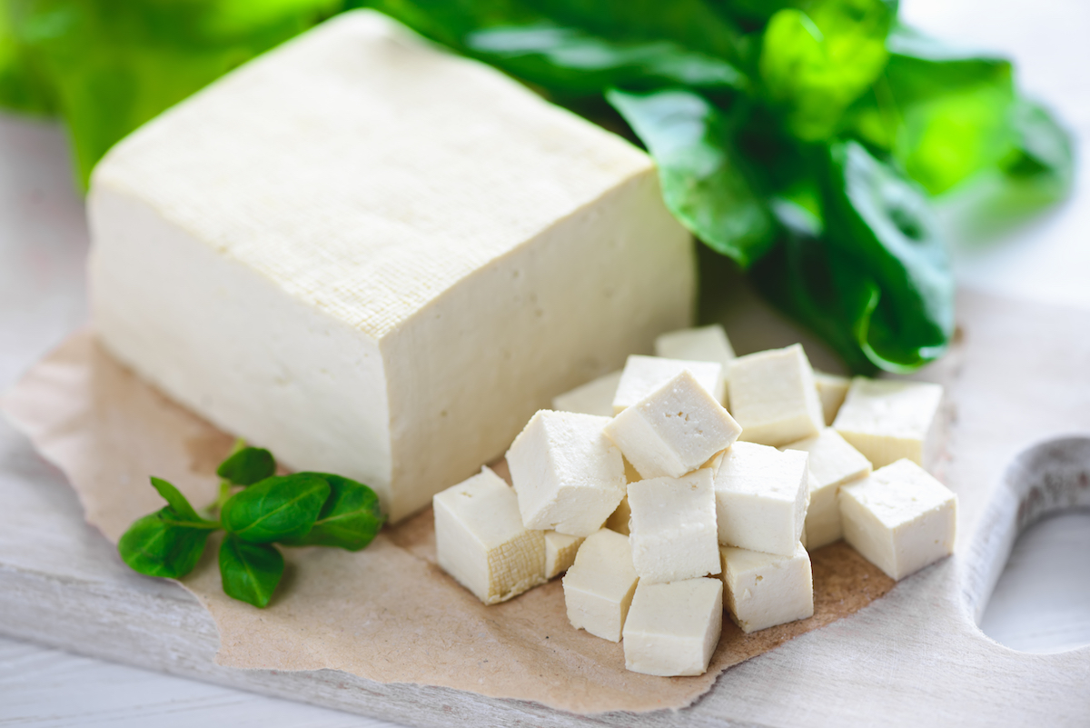 Tofu coupé en dés
