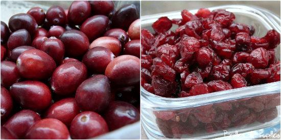 Cranberries fraiches et cranberries séchées