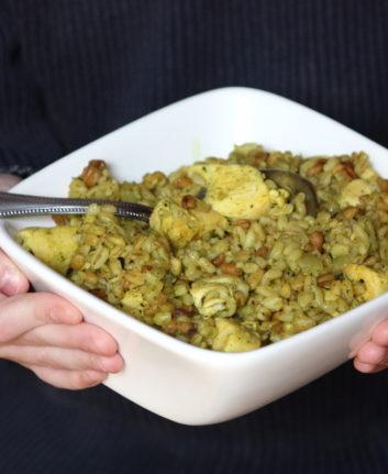 Blé à poêler [ebly] au poulet au curcuma
