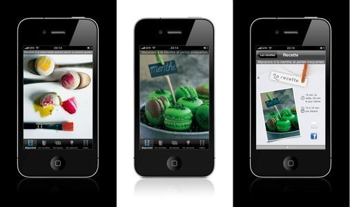 Copie écran macarons Mercotte appli Iphone et Ipad