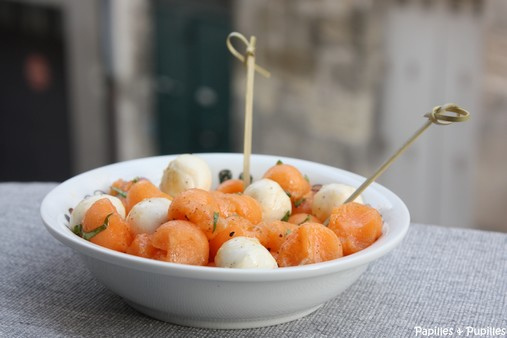 billes de melon et mozzarella