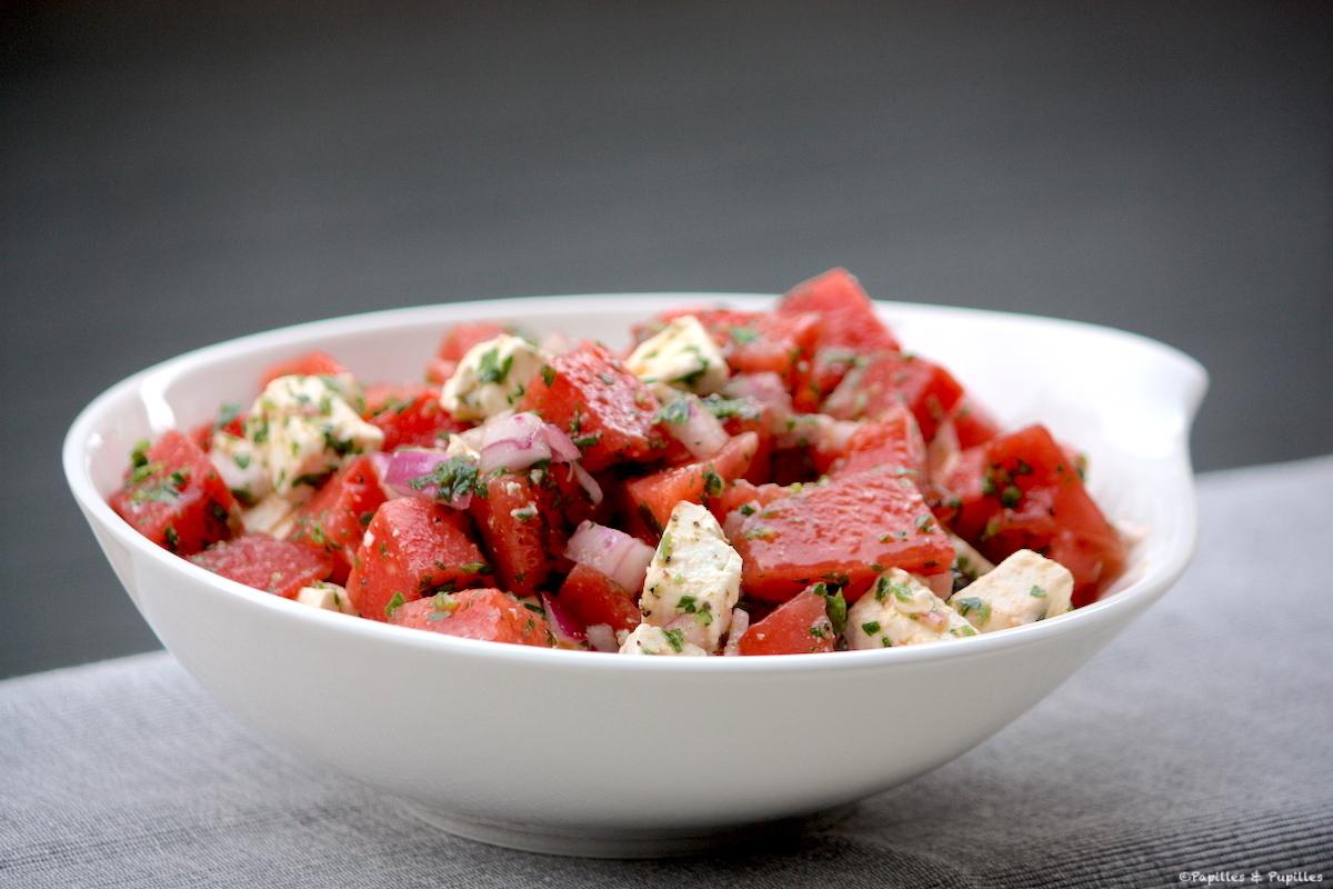 Salade de pastèque feta olives noires