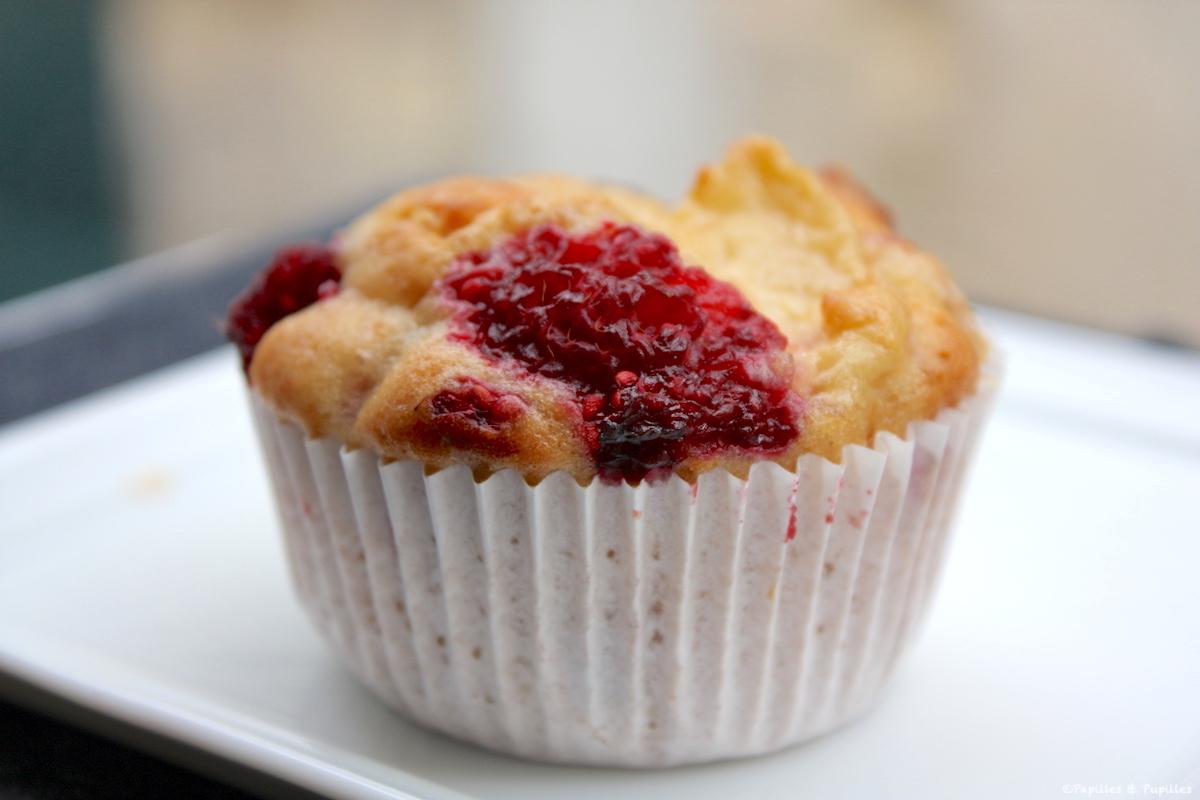 Muffins chocolat blanc framboises nectarines