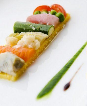 Variation de légumes, moelleux à la polenta de Jean Sulpice