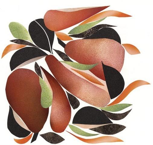 Collage Poires et radis noir à la tapenade, huile d'olive et Parmesan - Alain Passard