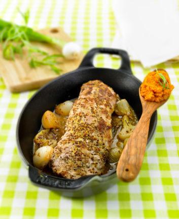 Filet mignon à la moutarde à l'ancienne et purée de patates douces