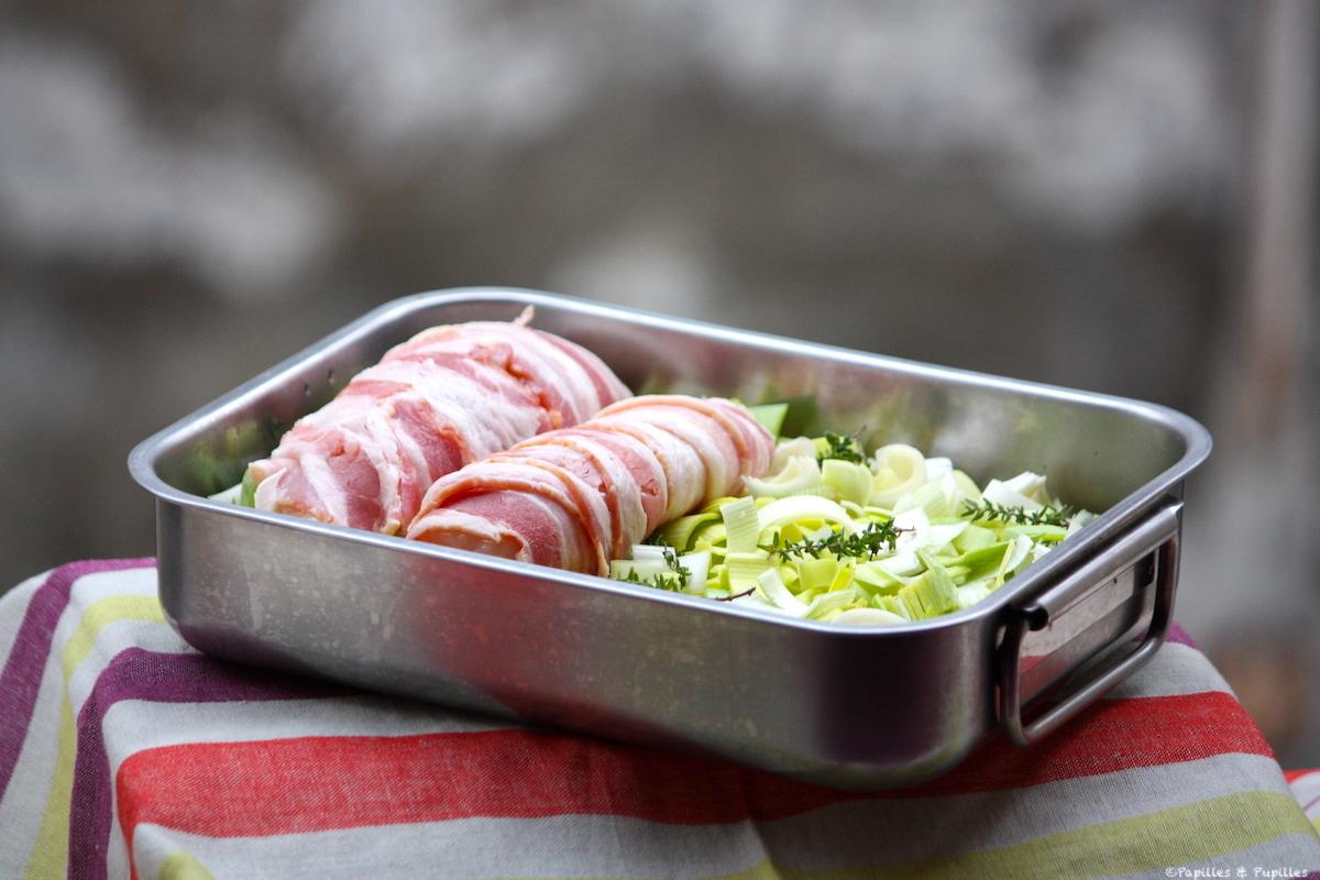 Blancs de poulet au lard thym poireaux de Jamie Oliver