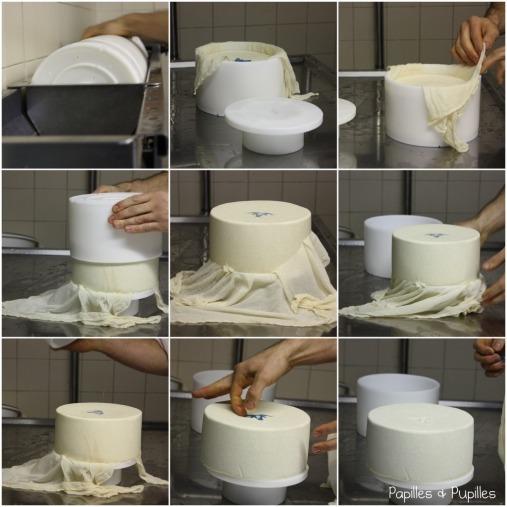 Etapes de la mise en moule d'un fromage