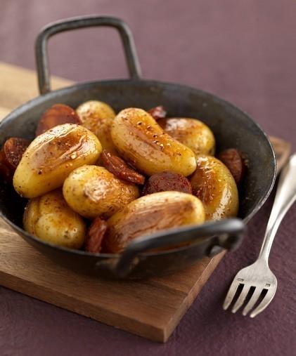Cocotte de pommes de terre Grenailles fondantes au chorizo doux