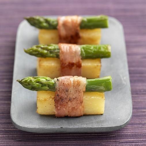 Pommes de terre au lard et asperges façon sushis