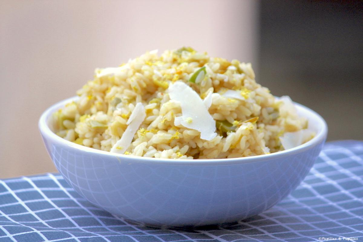 Risotto aux poireaux, au citron et au Parmesan