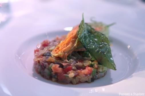 Fleur de courgette farcie au homard, caponata