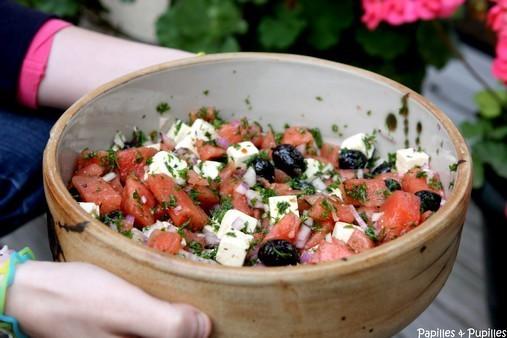 Salade de pastèque, olives noires et feta