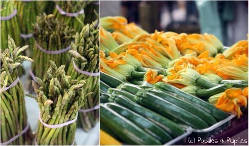 Asperges vertes, courgettes et fleurs de courgettes