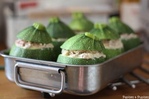 Courgettes farcies avant cuisson