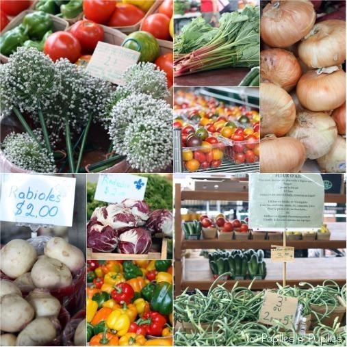 Différents légumes dont fleurs de poireaux (en haut à gauche) et fleurs d'ail (en bas à droite)