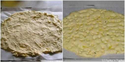 Focaccia - pâte crue étalée et pâte avant enfournement