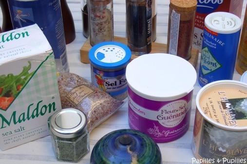 Différentes variétés de sel