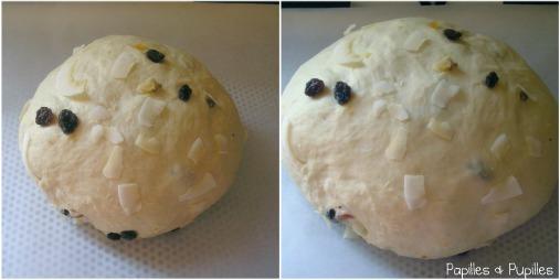 Pain ananas coco et fruits confits avant et après levée
