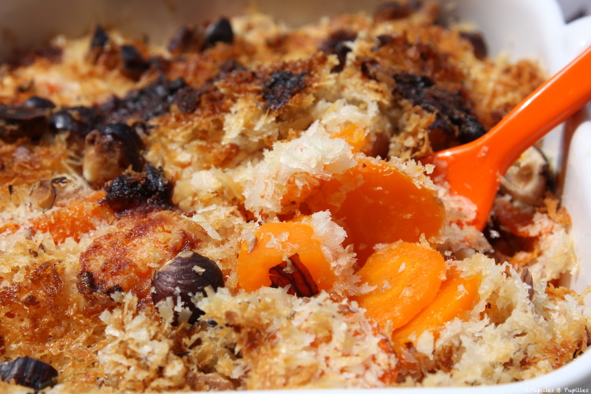 Crumble carottes Parmesan cumin