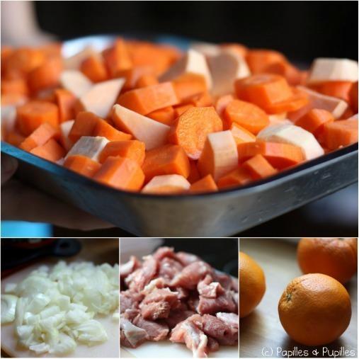 Filet mignon mijoté aux patates douces et aux carottes -Ingrédients