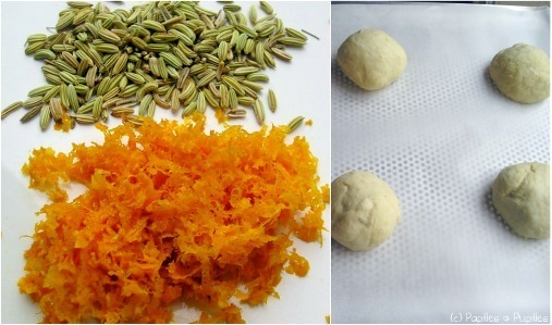 Petits pains aux zestes d'orange et aux graines de fenouil - En cours de préparation