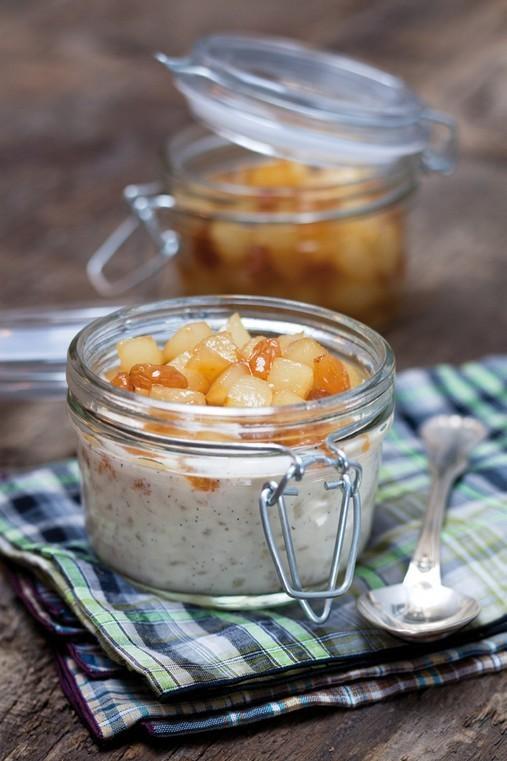 Riz au lait et poires compotées au sirop de Châtaigne d'Ardèche