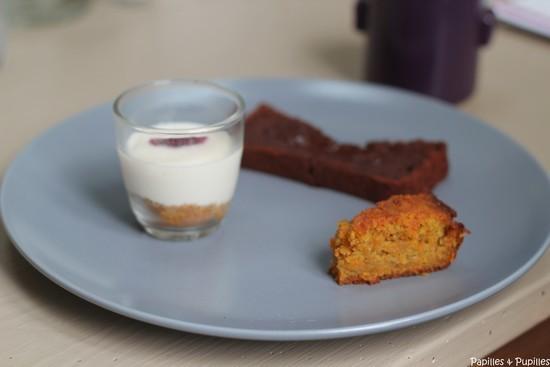 Desserts - Entremet soja speculoos - Fondant chocolat et Carrot cake