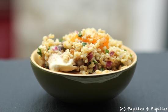 Salade de boulghour avocat clementines champignons