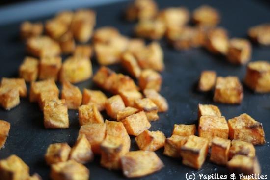 Dés de patates douces après cuisson