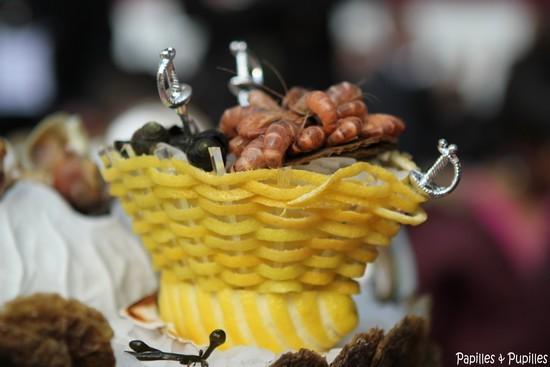 Panier de crevettes grises