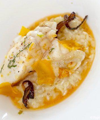 Lotte rôtie en risotto