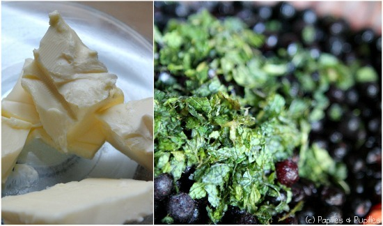 Beurre menthe et myrtilles