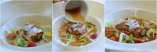 Consommé de volaille au parfum d'Asie, foie gras confit